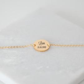 Armband met tekst graveren | Goud