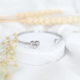 Heart bangle | zilver