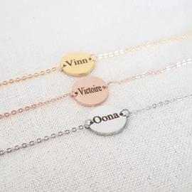 Coin armband met gravure zilver, rose of goud