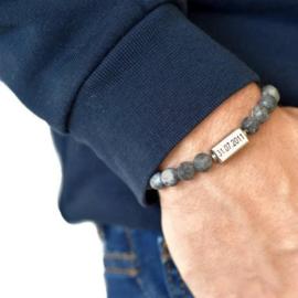 Kralen armband heren | Graveren | Grijs