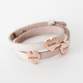 Leren naam armband | Rosé sieraden