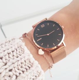 Rosé horloge met gravure