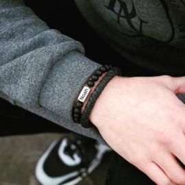 Kralen armband heren | Graveren | Zwart