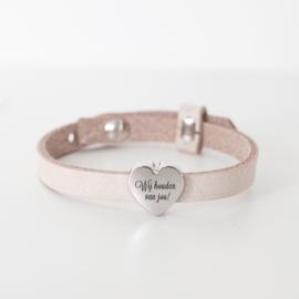 Leren armband dames | naambedel ZAND