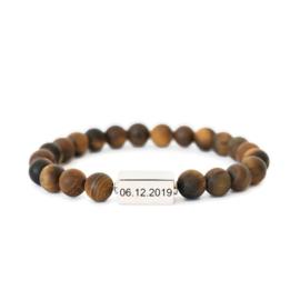 Kralen armband heren | Graveren | Bruin