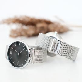 Dames horloge | Gravure | Zilver Zwart