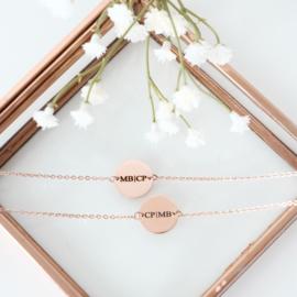 Coin armband graveren | Rosé