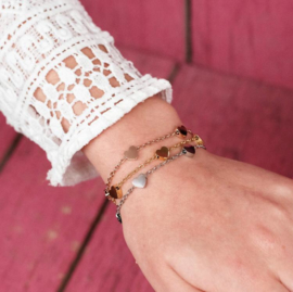 Hartjes armband graveren | Initiaal | Rosé