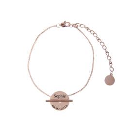 Coin naam armband graveren | Rosé