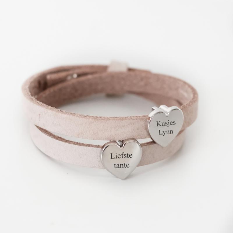 Dubbele leren armband dames | naambedel ZAND