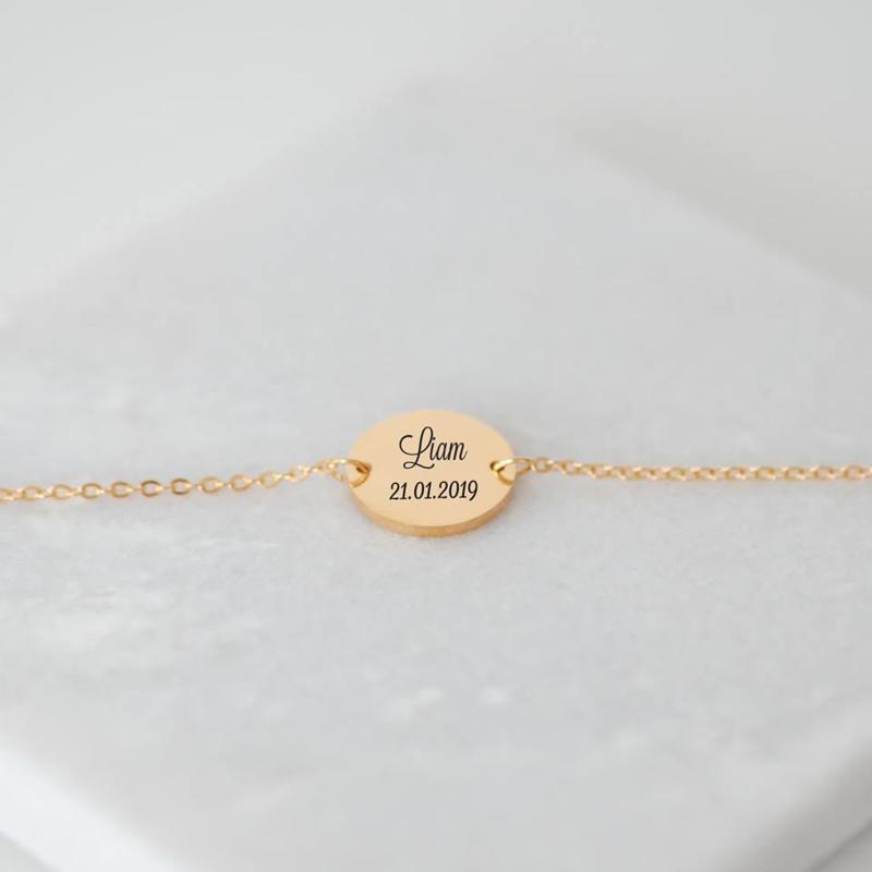 Armband met tekst graveren   Goud
