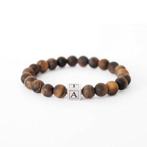 Initiaal armband heren | Graveren | Bruin