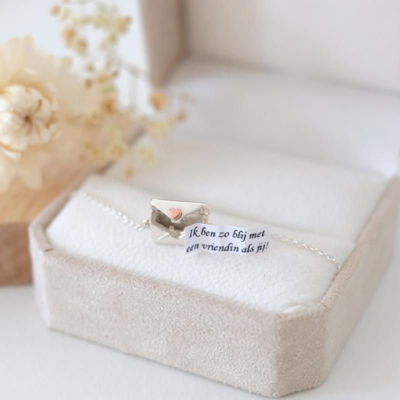 Loveletter armband | zilver rosé hart