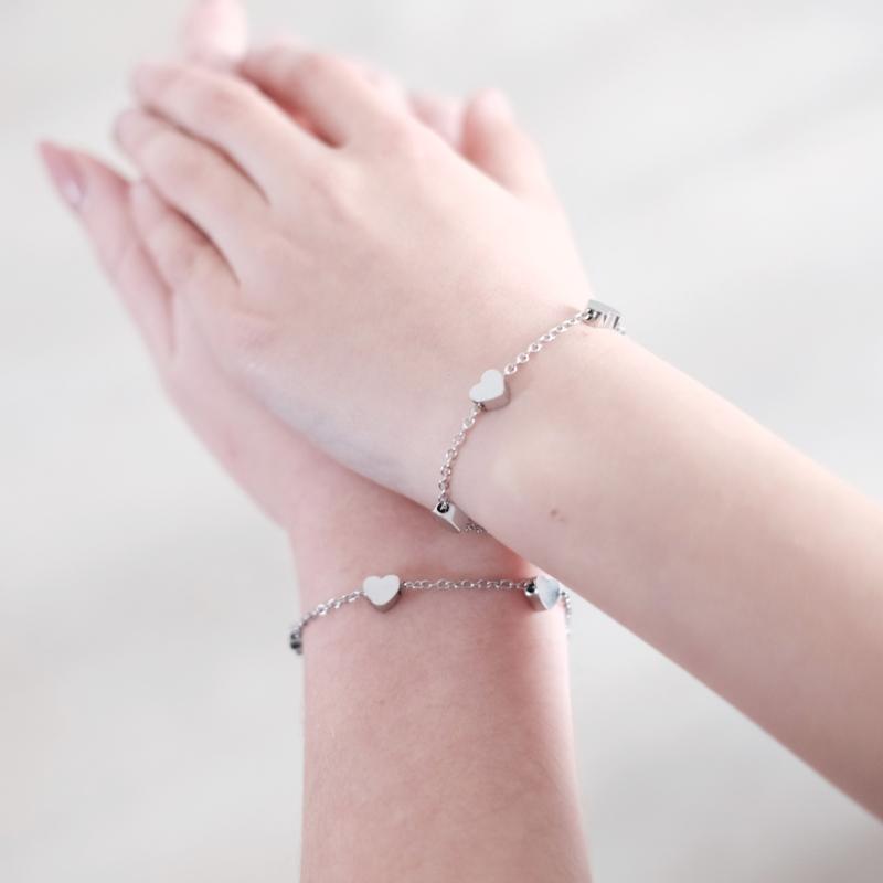 Moeder dochter armband   hartjes