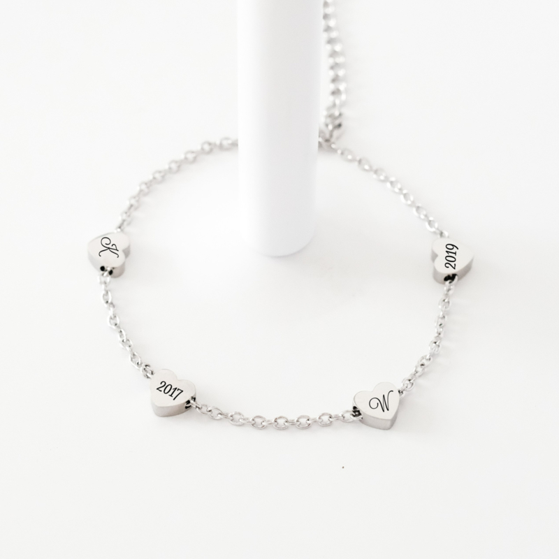 Hart armband | Initiaal armband graveren | Zilver