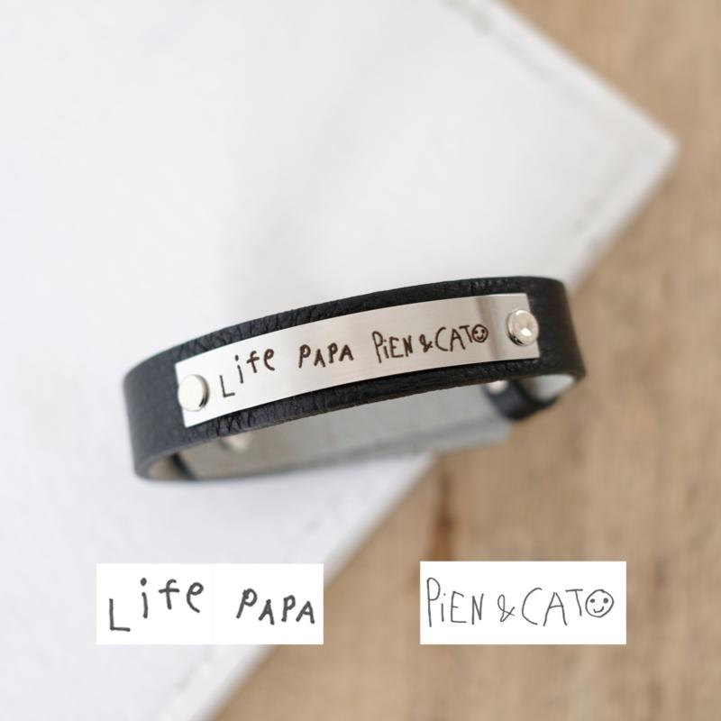 Handschrift graveren | armband voor hem