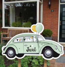 Geboortebord tuin | Volkswagen Kever mint *Kies je kleur!*