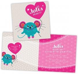 Geboortekaart muis met hart - meisje