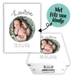 Geboortedoos met naam en foto - Foto cirkel
