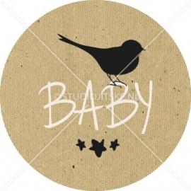 Sluitzegel geboortekaartje vogeltje kartonnen label