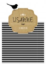 Geboortekaartje zwart/wit met vogeltje en kartonnen label - girl