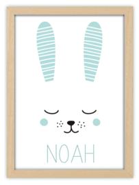 Geboorteposter met naam konijn