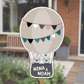 Geboortebord tuin | Konijntjes luchtballon tweeling | jongen/meisje