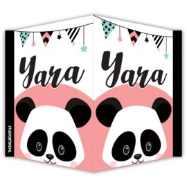 Geboortebord raam Panda en slingers