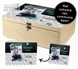 Houten doos met ontwerp van communiekaart - div. formaten