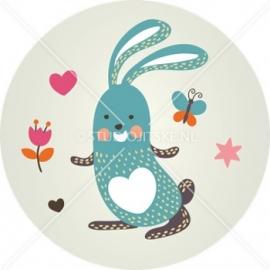 Sluitzegel geboortekaartje konijntje - meisje