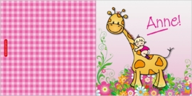 Geboortekaartje giraffe met kindje op rug - meisje