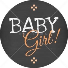 Sluitzegel geboortekaartje krijtbord typografie - meisje