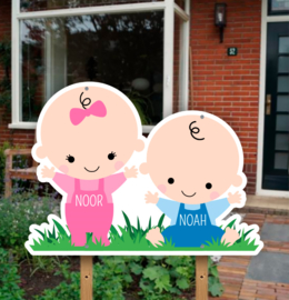 Geboortebord tuin | Tweeling jongen en meisje