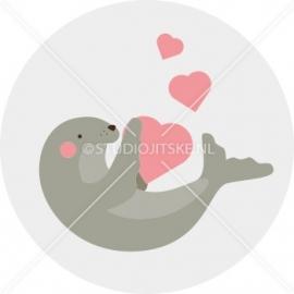 Sluitzegel geboortekaartje zeehond met hartjes