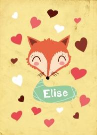 Geboortekaart vos met hartjes - meisje