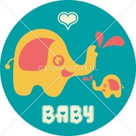 Sluitzegel geboortekaartje olifant retro - jongen