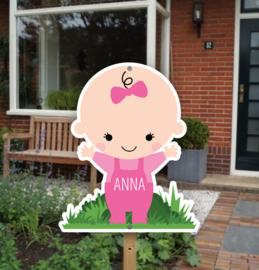 Geboortebord tuin | Baby met naam