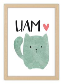 Geboorteposter met naam - LOVELY CAT