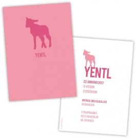 Geboortekaart lammetje strak design - roze