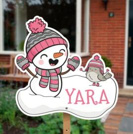 Geboortebord tuin | Sneeuwman *Kies je kleur!*