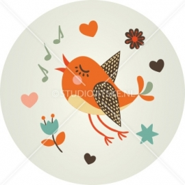 Sluitzegel geboortekaart vogeltje - jongen