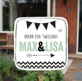 Geboortebord tuin tweeling | Vlaggen *Kies je kleur!*