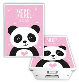 Geboorte bewaardoos met naam - Panda *Kies je kleur*