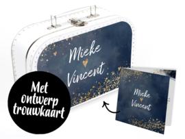 Koffertje met huwelijkskaart **Diverse kleuren koffertjes**