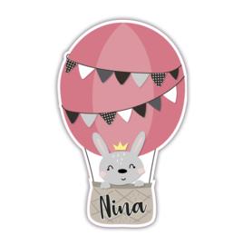 Geboortebord tuin | Konijntje luchtballon | *Kies je kleur!*