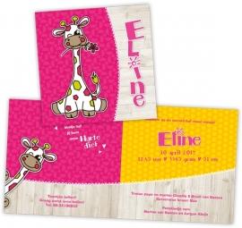 Giraffe geboortekaartje met steigerhout - meisje