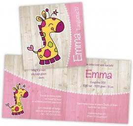 Geboortekaartje met giraffe - meisje
