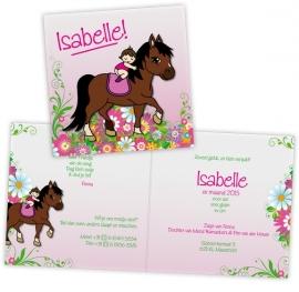 Geboortekaart paard met baby op rug - meisje