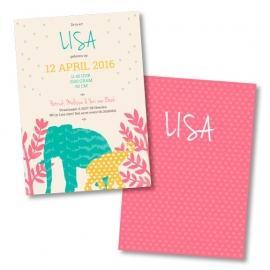 Geboortekaart met olifantjes jungle - meisje