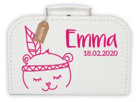 Koffertje met naam Beer indiaan meisje *Koffertje en bedrukking in diverse kleuren verkrijgbaar*